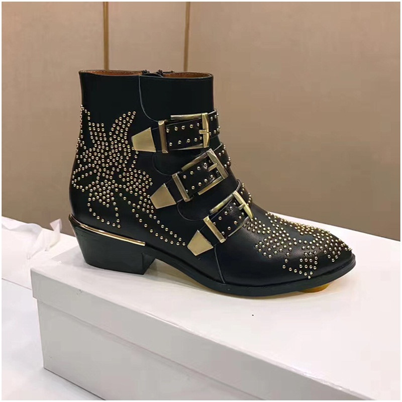 Fashion Punk Style Motorcycle Boots Susanna Studded Buckle Ankle Boots With Metal Decor Rivet Women Booties - 4