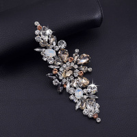 2pcs Lot Exquisite Good Quanlity Glass Rhinestone Clothing Patches Opal Strass Applique Decoration For Wedding Dress