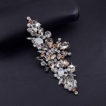 2pcs/lot Exquisite good quanlity glass Rhinestone clothing patches opal strass Applique decoration for wedding dress belt sash
