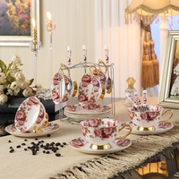 British Royal Bone China Flower Painting Coffee Cup Ceramic Tea Cup And Saucer Spoon Set Advanced 200ml Porcelain Cup For Gifts