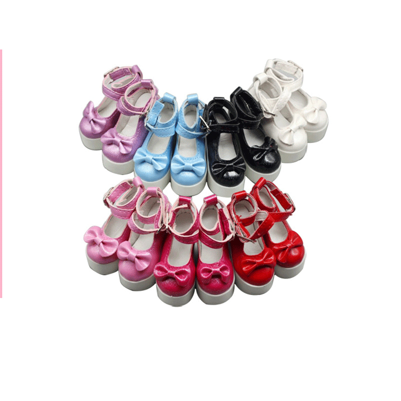 1 Pair PU Leather Cute Doll Shoes Toy Party Ankle Strap High Heels For 1/3 Dolls Accessories Toys