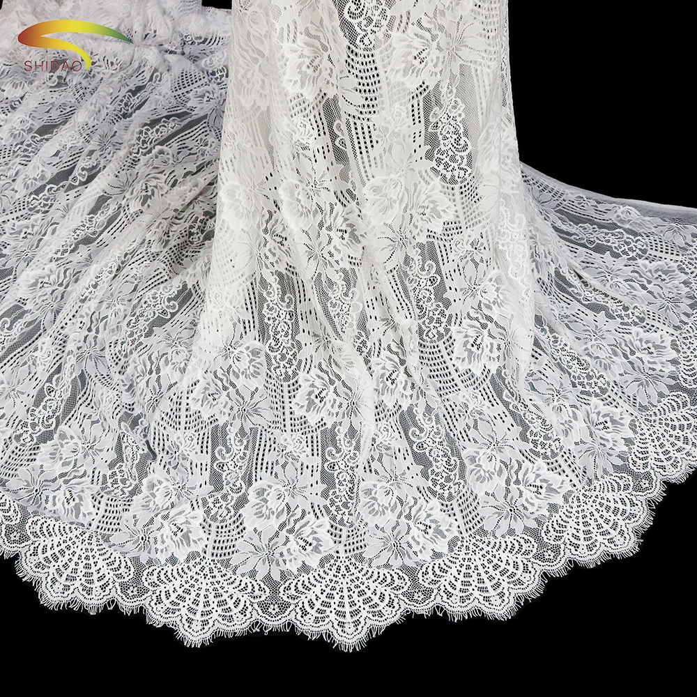 3 Meters/Lot French white Nylon Eyelash Lace wedding Dress Fabric chantilly Table Cloth DIY Crafts