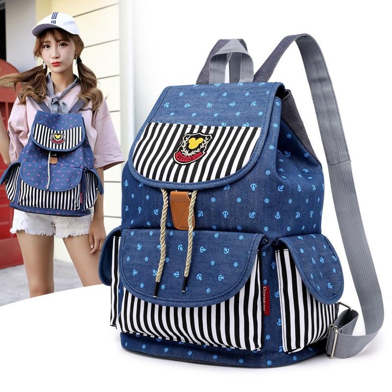 Denim, Backpack, Ladies, Travel, School, Jeans