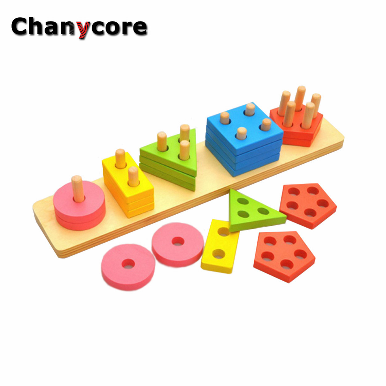 Baby Learning Educational Wooden Toys Geometric Shape Blocks Column Long Board Sorting Matching Montessori Kids Gifts 4111