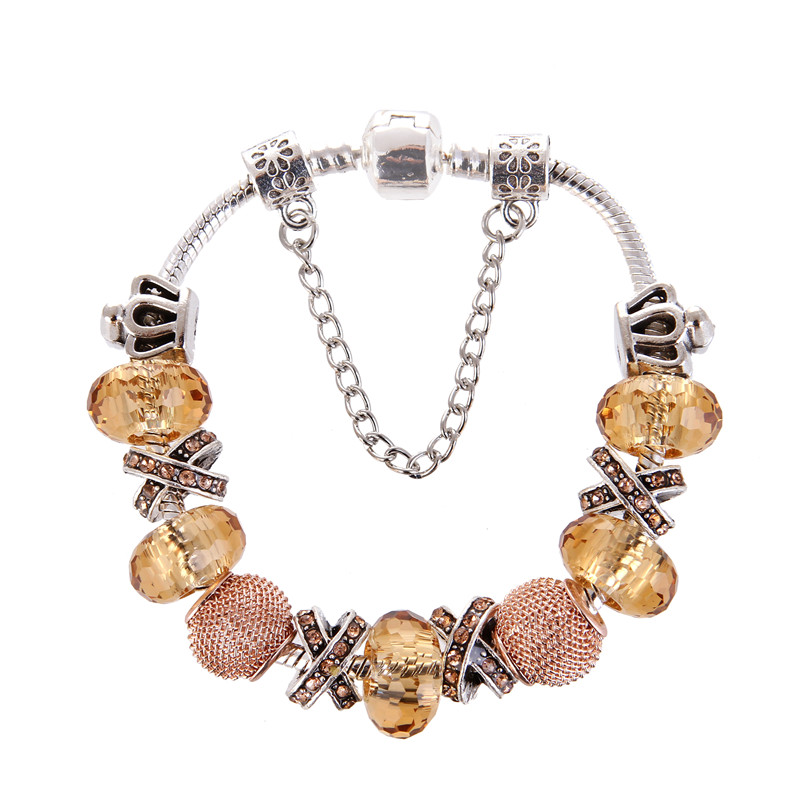 High Quality Noble Pretty Silver plated Pink Crystal Charms Bracelet Pandora Bracelet For Women gift jewelry Drop Shipping