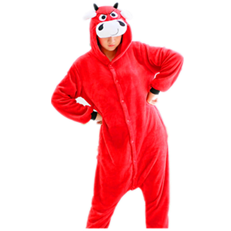 Cartoon Anime Red Bull Bullfight Matador Onesie Halloween Cosplay Animals Red Cow Adult Women Mens Pajamas Sleepwear Jumpsuit