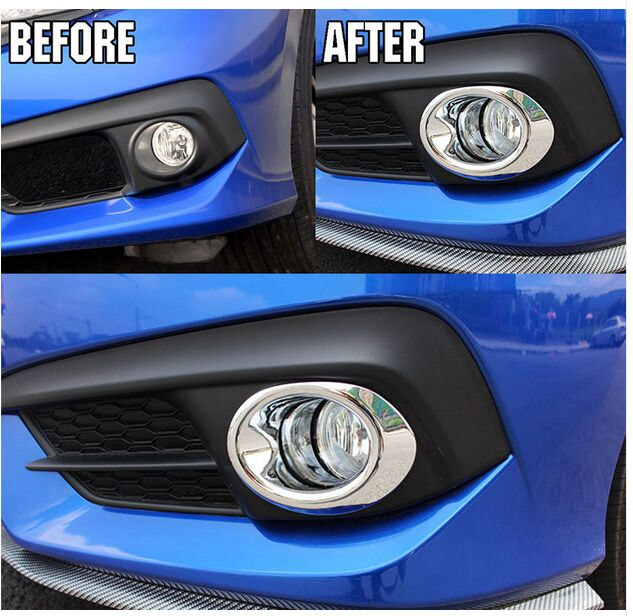 FIT FOR HONDA CIVIC 2016 2017 CHROME FRONT FOG LIGHT LAMP COVER TRIM BEZEL  BUMPER HOOD INSERT LID RING FRAME GARNISH 2pcs In Chromium Styling From ...