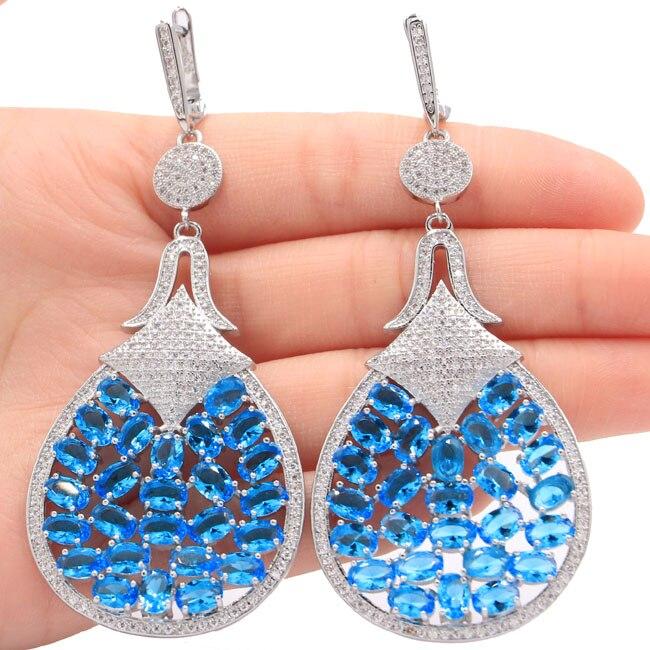 Luxury Long Paris Blue Topaz Ladies Present 925 Silver Earrings 82x35mmLuxury Long Paris Blue Topaz Ladies Present 925 Silver Earrings 82x35mm