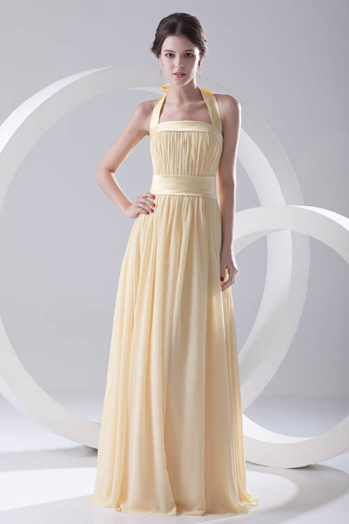 Babyonlinedress Halter Neck Ribbon Bow Tie   Bridesmaid     Dresses   Long Yellow Chiffon Backless Wedding Party   Dresses