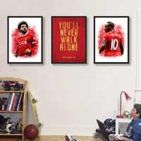 Sadio Mane & Mohamed Salah Posters Art Canvas Painting Liverpool FC Motto Vintage Poster Print Man Cave Kids Room Wall Art Decor