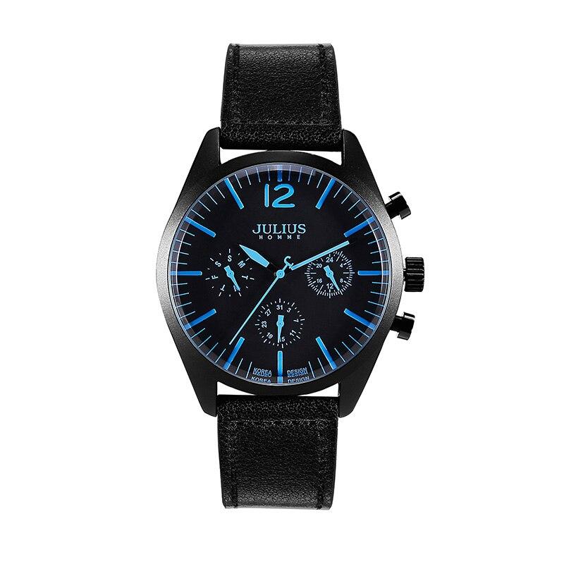Fonctions réelles montre pour hommes japon Quartz heures horloge affaires Sport robe Bracelet en cuir garçon anniversaire cadeau de noël Julius