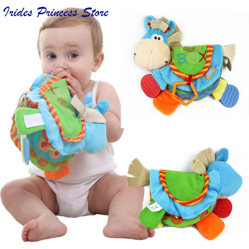 0-12 Month Baby Rattles Teether Toys Cute Donkey Animal Cloth Book For Toddlers Learning Early Education Toys Christmas Gift