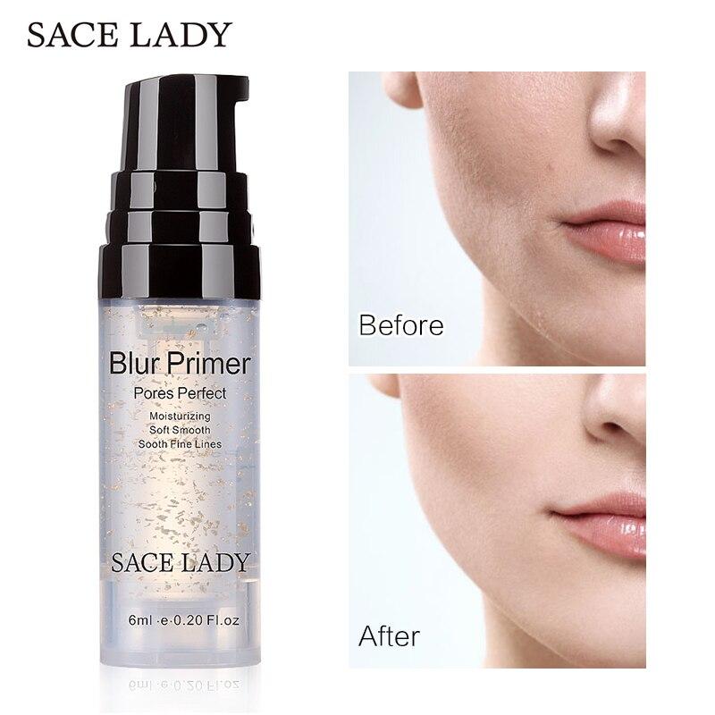 SACE LADY Blur Primer Makeup Base 6ml Face 24k Gold Elixir Oil Control Professional Matte Make Up Pores Brand Foundation Primer matte perfecting primer