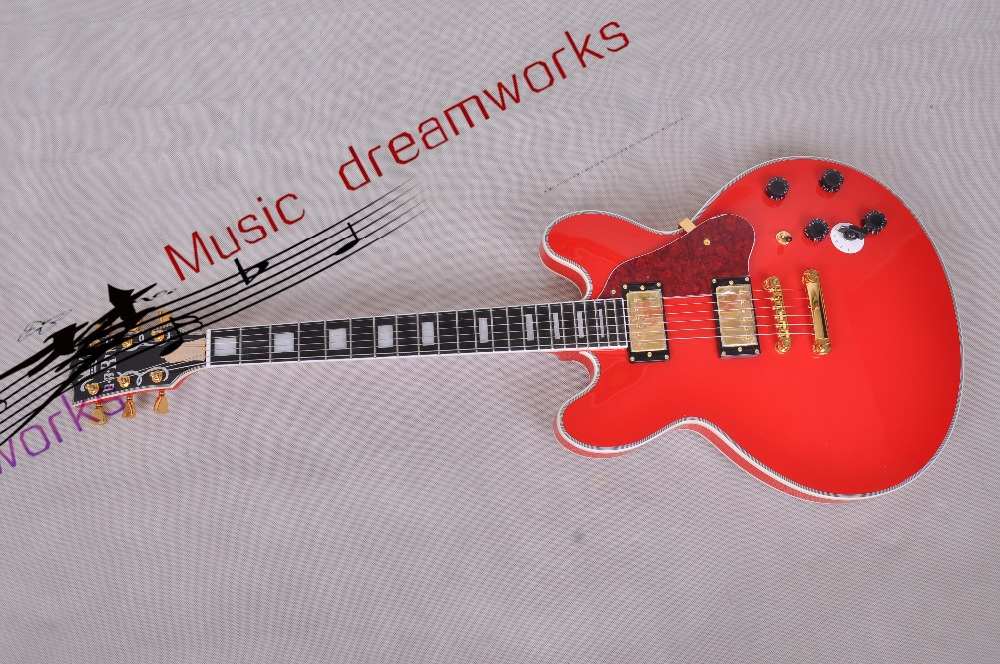 China Top quality firehawk OEM shop Electric hollow jazz guitar BB kin g style, RED color Electric Guitar EMS free shipping