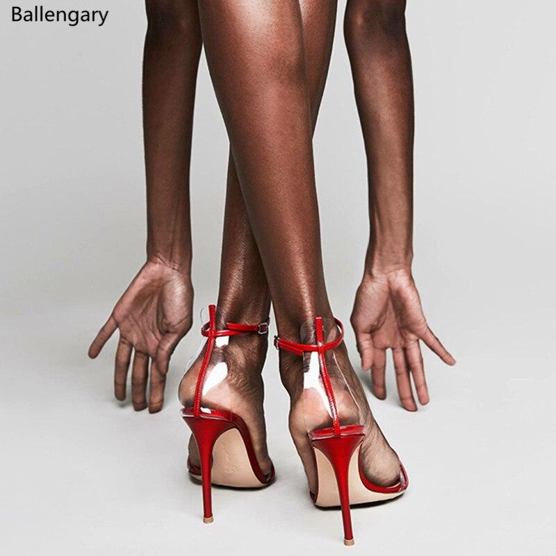 Sandalias Mujer 2018G String sandales bride à la cheville en cuir verni avec PVC femmes pompes 10 cm talons aiguilles robe chaussures de fête