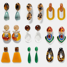 Best lady Fashion ZA Resin Drop Earring For Women Wedding Jewelry Boho Elegant Shiny Dangle Statement Earrings Christmas Gifts(China)