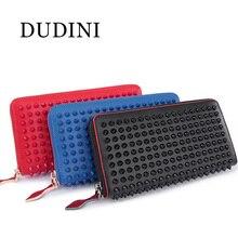DUDINI Design Frauen Kämpfen Nieten Brieftaschen Aus Echtem Leder Geldbörse Europa Und Amerika Kupplung Brieftasche Karte Taschen 3 Farben