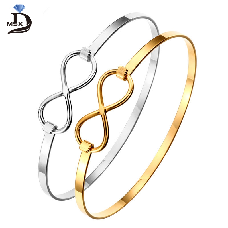 Stainless Steel Women Bracelets Charming Bangles Gold Plating Love Cuff Wristband Luxury Brand Simple Jewellery Wedding Gift