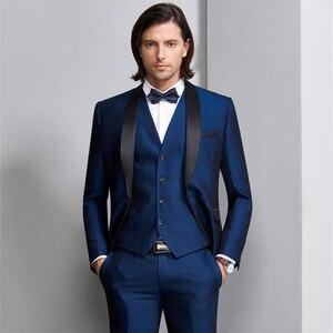 Image 4 - Plyesxale masculino terno 2018 ternos de casamento para homens xale colar 3 peças ajuste fino burgundy terno dos homens azul real smoking jaqueta q83