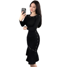 2018 Spring Women Black Long Sleeve Beading Bodycon Dress Elegant Knitted Ruffle Pencil Dresses