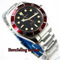 Новый Parnis 41 мм черный циферблат сапфировое стекло Дата нержавеющая сталь Ремешок miyota 8215 автоматические мужские часы