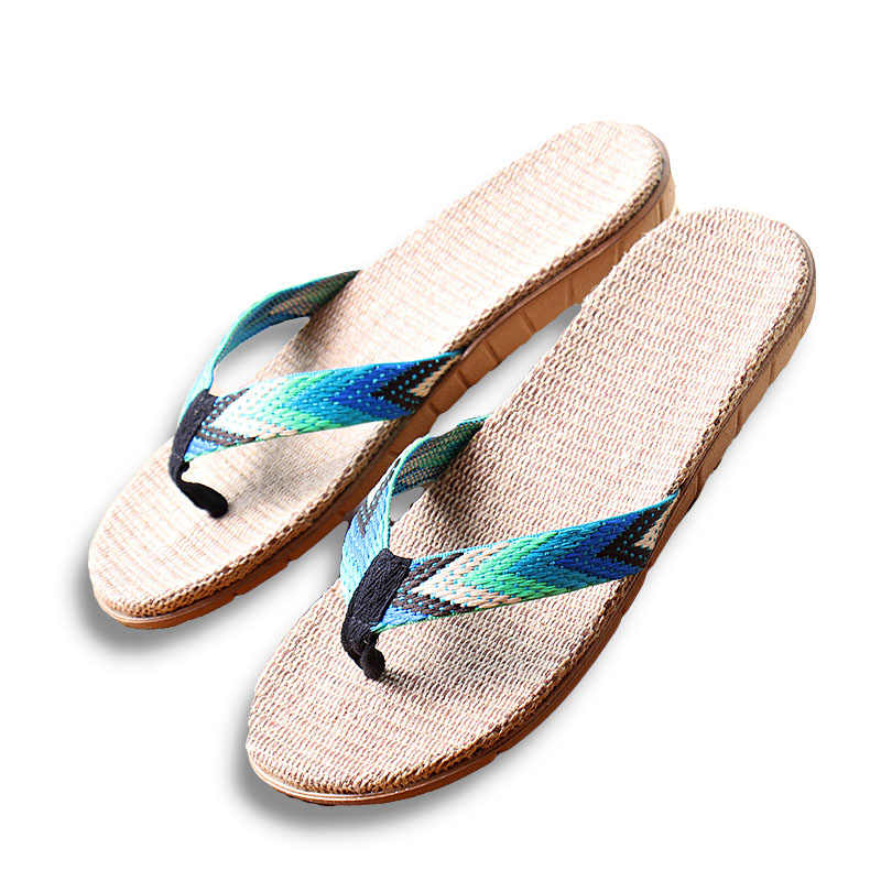 13c3f42411ce95 ... New Summer Men Linen Flip Flop Striped Ribbon Sandals Flat EVA Non-Slip  Linen Slides ...