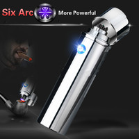 Newest Design 6 Arc Lighter More Powerful USB Rechargeable Electric Plasma Pulse Lighters For Smoke Cigarettes