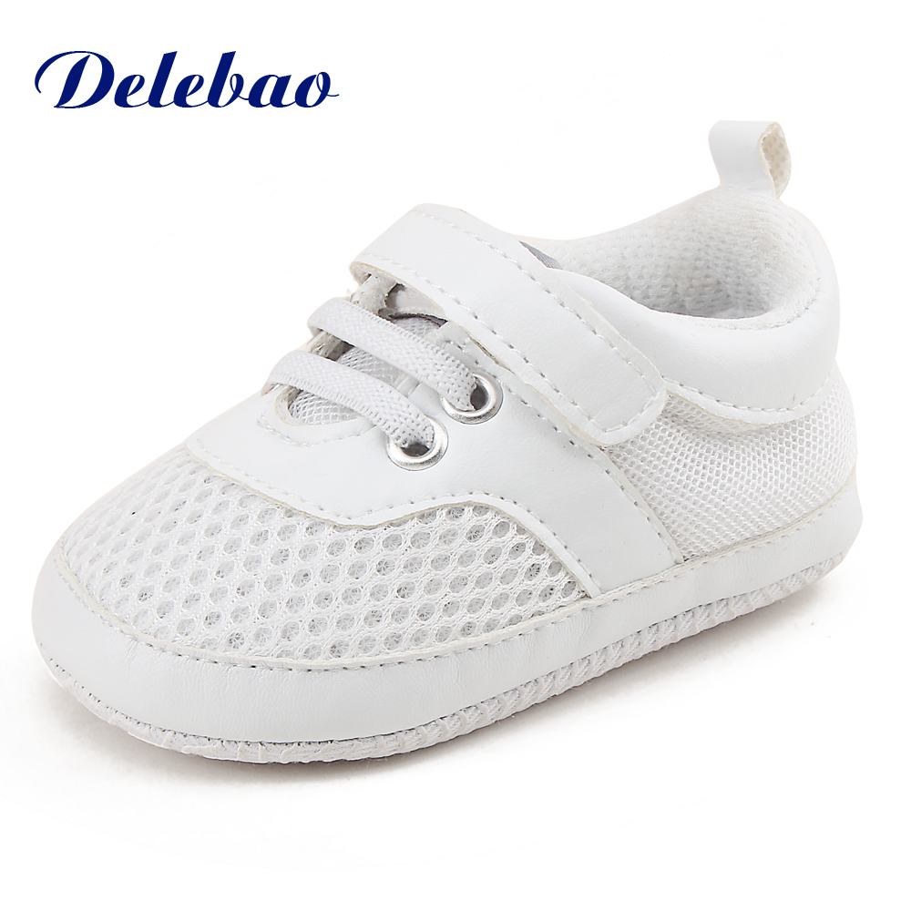 Delebao New Design Breathable Website Sports Style Baby Shoes For Newborn Infant Toddler Soft Sole First Walkers Free Socks image