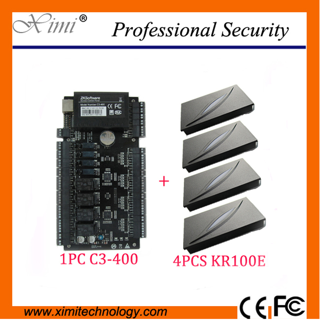 Free shipping Network ZK C3-400 Intelligent Four-door one-Way Access Control Panel+4PCS KR100E RFID Reader Kit