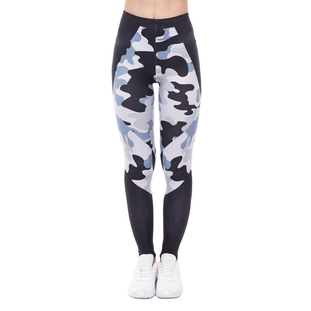 Elegant Women High Waist Legging Camo Black Triangles Printing Fitness Leggings Fashion Woman Pants