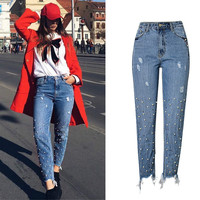 Embroidered Flares Rivet England Style Straight Jeans Women Moustache Effect Scratched High Waist Tassel Denim Pants
