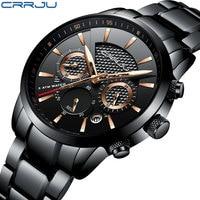 CRRJU Luxury Brand Watches Men Six Pin Full Stainless Steel Military Sport Quartz Watch Man Fashion