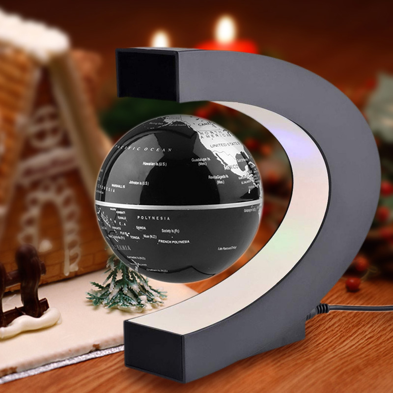 C Shape LED World Map Floating Globe Tellurion Magnetic Levitation Light  Antigravity Magic/novel Light Home Decor Miniatures In Figurines U0026  Miniatures From ...