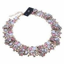BK Collar Necklace For Women Summer Fashion Gold Chain White Peach Glass Crystal Resin Choker Statement Bib Multicolor