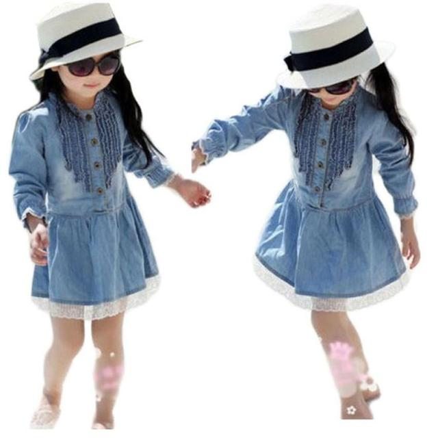 92a430213544 baby girls winter party dresses girl Kids Denim Beautiful Lace ...