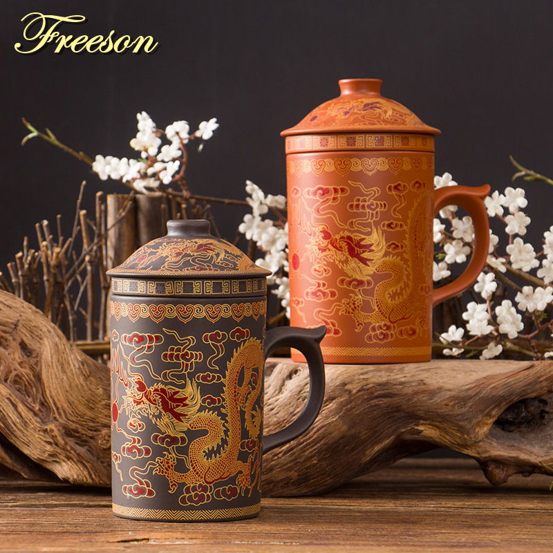 Retro Traditional Chinese Dragon Phenix Purple Clay Tea Mug with Lid Infuser Handmade Yixing Zisha Tea Cup 300ml Teacup Gift Mug