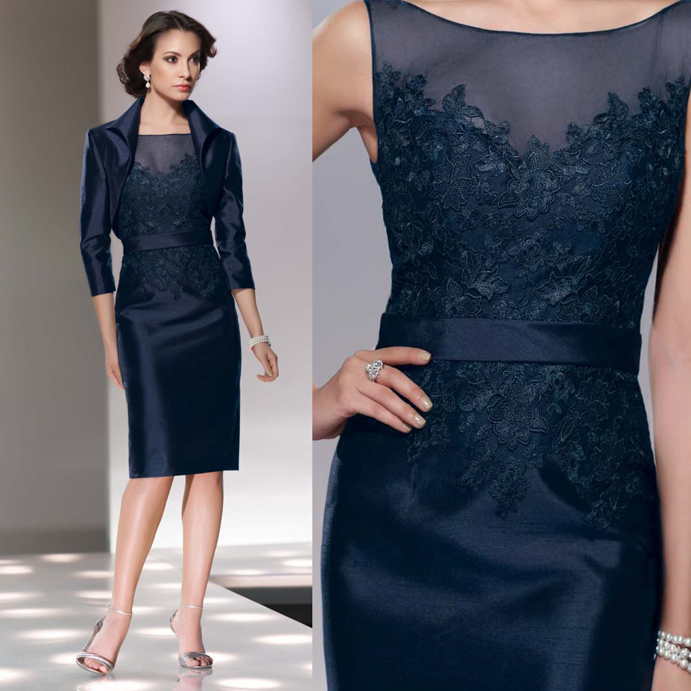 84bc03da12e 2016 Gorgeous With Jacket Scoop Neck Sleeveless Knee-Length Elastic Satin  Applique Navy Blue Mother Of The Bride Dresses