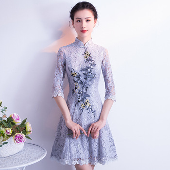 Embroidery Mini Qipao Lace Chinese Tradition Wedding Cheongsam Modern Robe Chinoise Gray Qi Pao Vintage Oriental Dresses