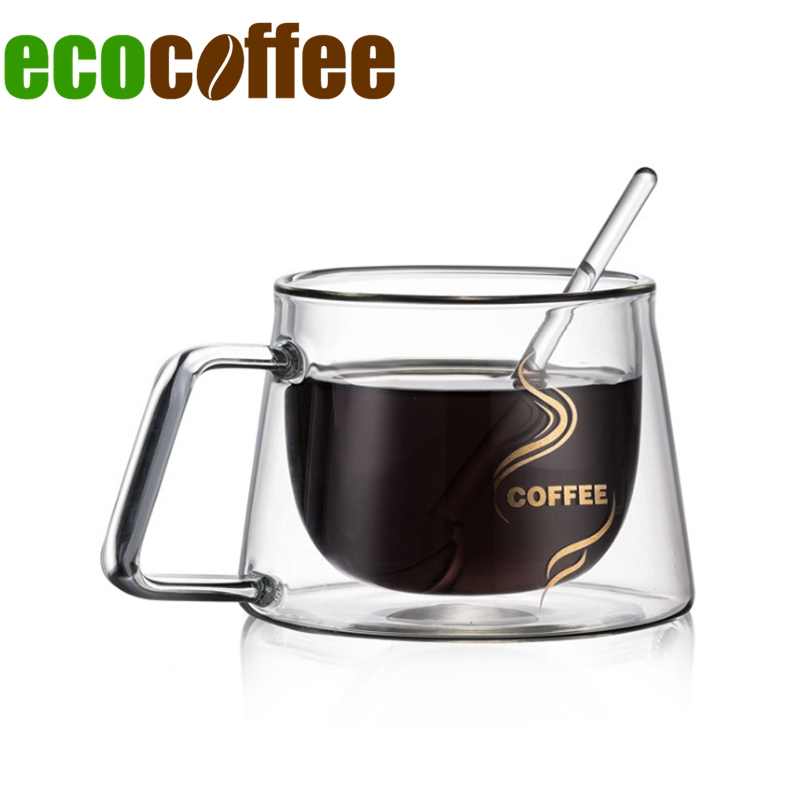 Espresso Mug Double Layers Glass 200ML Heat Resistant Cup with Handle for Tea Coffee Milk or Cold Drinks