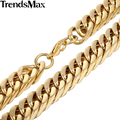 Trendsmax 14mm Wide Gold Plated Heavy Double Curb Chain Rombo Link Stainless Steel Necklace Mens Chain KN334