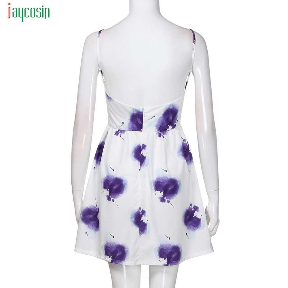 Jaycosin 女性のファッション紫色の花柄女性のエレガントなノースリーブミニ開いた Vestidos デ · フェスタ夏