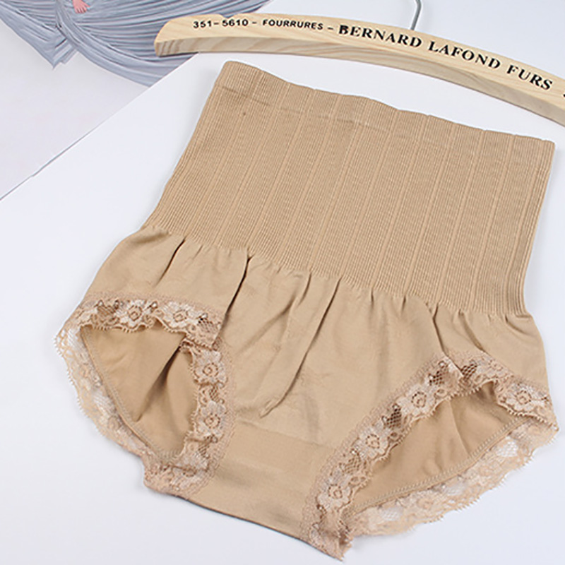 Solid color high waist body shaping abdomen pants lace side ladies briefs free shipping