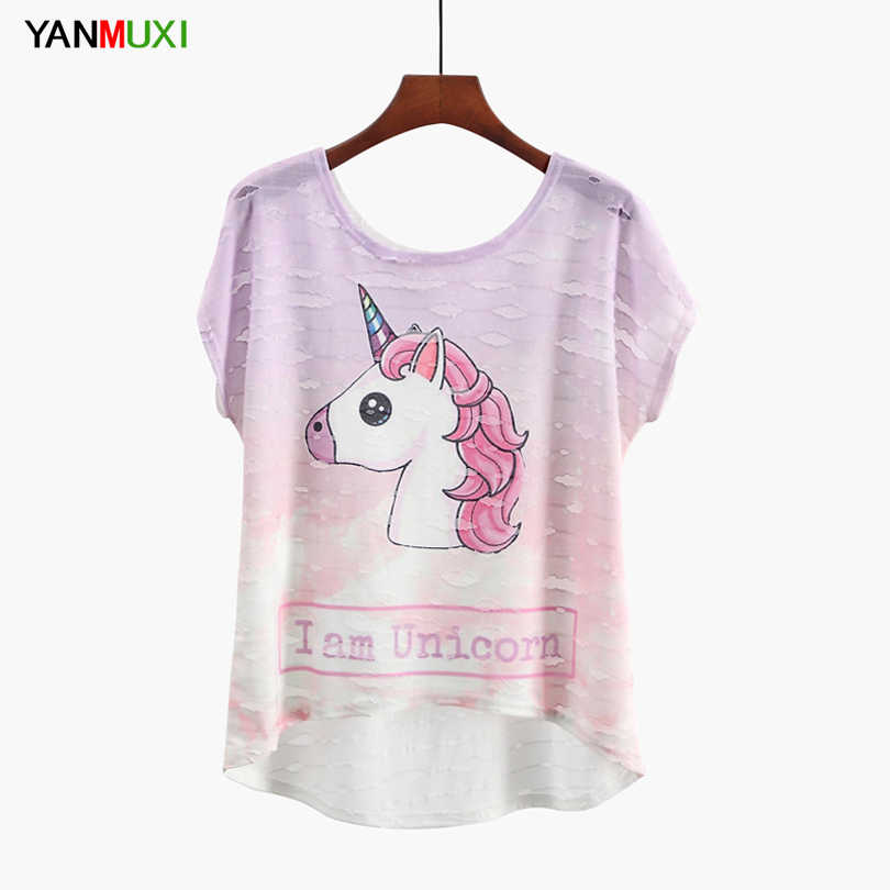 2019 New Summer Unicorn T-shirt Women Asymmetric Tshirt Short Sleeve Casual Top Fashion Sika Deer&Birds Cartoon Print Tee Shirts