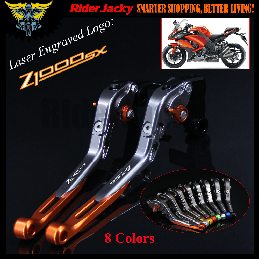 8 Colors With Logo Orange&Titanium CNC Folding&Extending Motorcycle Brake Clutch Lever For Kawasaki Z1000 SX Z1000SX/Tourer 2017 clutch brake lever motorcycle telescopic folding clutch brake lever for kawasaki z1000 z 1000 2007 2008 2009 2010 2011 2016