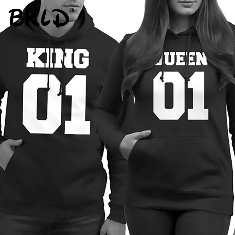 BKLD 2018 Autumn Winter Couple Clothes Hoodies KING Queen Print Harajuku Sweatshirts Lover Pullover for Man and Women