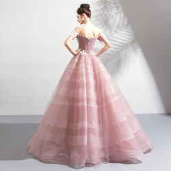 Pink Wedding Dresses Ball Gown Off Shoulder Short Sleeves Tulle White Lace Appliques Floral Vestido De Noiva Saudi Arabia Bridal 2