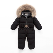 Children Winter Duck Down Jumpsuit for Baby Boys Girls Snowsuit Rompers Overalls Thick Warm Real Fur Jacket Kids Outerwear Suit цена и фото