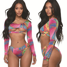 78b3c7ae4b Sexy Lace Up Bikini 2019 Printed Swimsuit Push Up Swimwear Women Long  Sleeve Hollow Out Crop