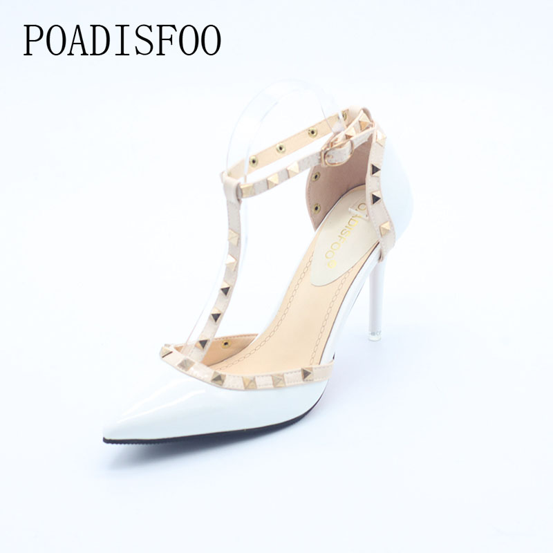 2017 Summer Fashion Normic Rivet Japanned Leather Cutout high-heeled Thin Heel Pointed Toe Pumps Women Sexy Sandals .DFGD-868 2017 new summer women flock party pumps high heeled shoes thin heel fashion pointed toe high quality mature low uppers yc268