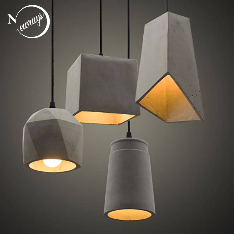 Vintage 5 Styles Cement Hanging Pendant Lamp 220v E27 LED Light With Switch Lighting Fixture For Living Room Bedroom Restaurant